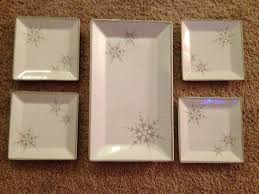 amazon com white snowflake 5 piece ceramic serving set by ulta