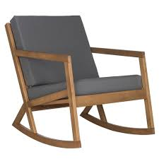 Wooden Rocking Chair Outdoor Safavieh Outdoor Living Vernon Brown Tan Rocking Chair By