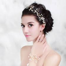 bridal headwear pearl gold wedding headband hair accessories bridal
