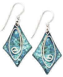 jody coyote patina brass earrings blue diamond swirl drop