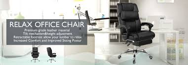 Armchair With Footrest Executive Office Chair Ergonomic High Back Reclining Leather