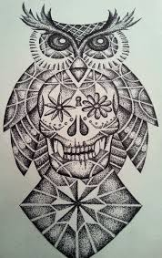 sugar skull and owl design all done in dots dotwork