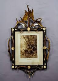 black forest antler picture frame with deer print ca 1900 at 1stdibs