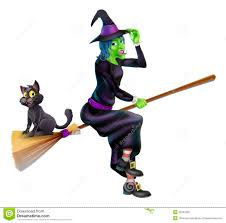 Halloween Witch On Broomstick With Cat Stock Photography Image
