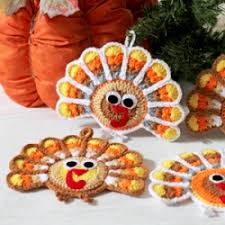 turkey ornaments thanksgiving crochet pattern to make thanksgiving turkey coasters and hanging