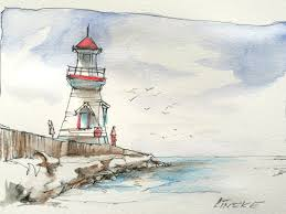 lighthouse in aquarel watercolor pencils by lineke lijn on deviantart