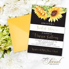 sunflower bridal shower invitation watercolor sunflowers and