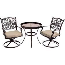 bistro sets outdoor patio furniture hanover traditions bronze 3 piece aluminum outdoor bistro set with
