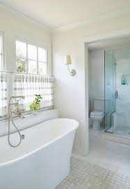 Gray Cafe Curtains White And Gray Cafe Curtains Bathtub Transitional Bathroom