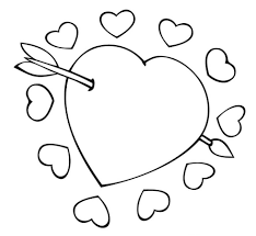print cupid arrow through the heart valentine coloring pages or