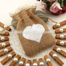 small burlap bags small hessian burlap bag with crochet lace drawstring heart