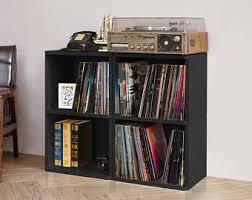 2 Shelf Black Bookcase Record Shelf Etsy