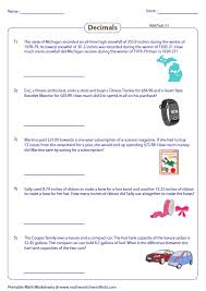 adding decimal numbers worksheet decimal word problems worksheets
