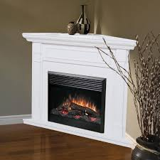 beautiful white corner electric fireplace design ideas with wooden