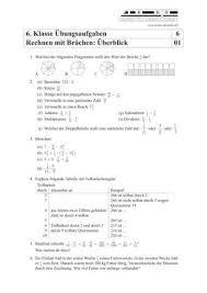 mathe brüche klasse 6 matheübungen und matheaufgaben 6 klasse mit lösungen