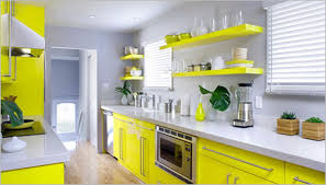 yellow kitchen design yellow kitchen design with cabinet and white wall 1641
