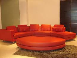 red leather modern sectional sofa w metal legs u0026 ottoman
