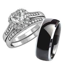 his and hers wedding his hers 3 pcs black titanium matching band women heart cut