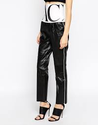 biker pants back by ann sofie back logo elastic biker pants in black lyst