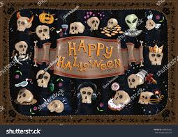 happy halloween funny picture happy halloween card funny skulls different stock vector 490890952