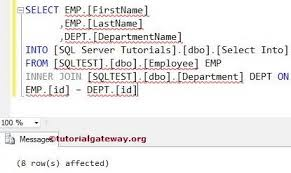 sql select from multiple tables sql select into statement