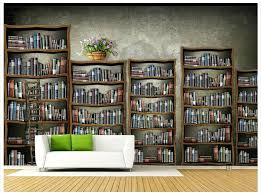 Bookshelf Background Image Bookcase 3d Wallpaper Custom 3d Wall Mural Wallpaper Fashion