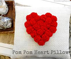 Homemade Pom Pom Decorations Pom Pom Heart Pillow Love Diy Decor