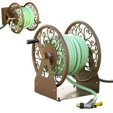 703 d2 decorative wall mount garden hose reel or free standing