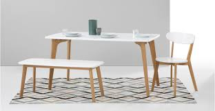 Dining Table And 2 Benches Fjord Rectangle Dining Table And Bench Set Oak And White Made Com
