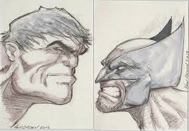 hulk vs wolverine sketch card by mikevanorden on deviantart