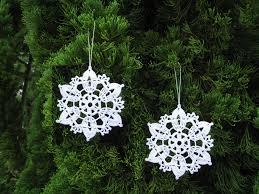 6 crochet snowflake ornaments white christmas tree decor seasonal