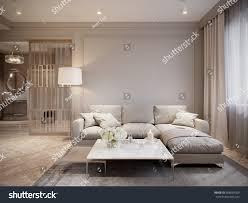 Biege Sofa Modern Beige Gray Living Room Interior Stock Illustration