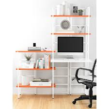 desk and bookshelves white connections extended desk shelf the container store