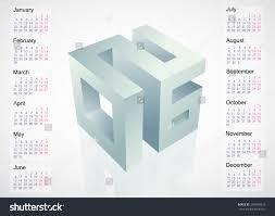 calendar 2016 leap year template design with 3d emblem stock