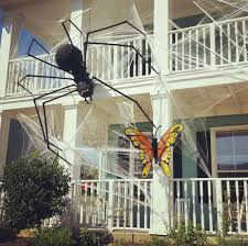 halloween 2016 exterior home decorations giant spider haunted