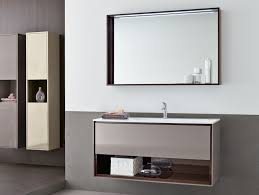 beige wooden small wall mounted bathroom sink with long open