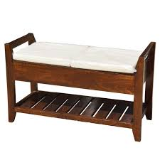mission mango wood cushioned storage bench w bottom rack