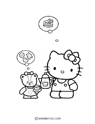 kitty fond food coloring pages hellokids