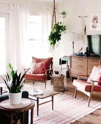 vintage style minimalist living room space with retro mid century