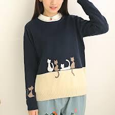 cat sweater japanese harajuku cat sweater fashion kawaii