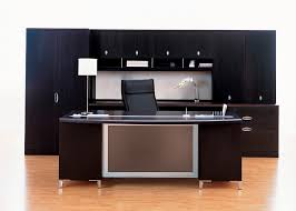 Modern Office Table Designs With Glass Delightful Black Wooden Black Office Desk Brown Rectangle Wooden