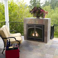 deck outdoor gas fireplace stone mantle stainless steel firebox