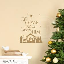 nativity o come let us adore him wall saying vinyl lettering nativity o come let us adore him wall saying vinyl lettering decal home decor art quote sticker gold 12 5x15 5 amazon com
