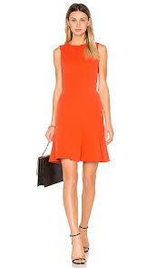 derek lam 10 crosby fit u0026 flare dress in bright coral revolve