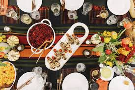 overhead view of food with drinks served on table stock photo