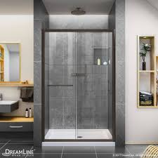 48 Shower Doors Infinity Z 48 W Sliding Clear Glass Shower Door And Base Kit