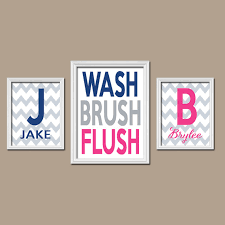 brother sister child name monogram initial bath navy blue pink