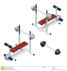 gym adjustable weight bench with barbell isolated on white