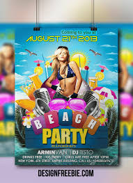 beach party flyer psd template free download flyer design free