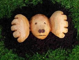 sculpted wooden mole garden feature garden sculpture find